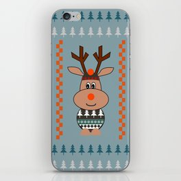 Reindeer and bears- winter decor iPhone Skin