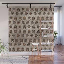 Maya Calendar Glyphs pattern wooden texture Wall Mural