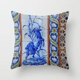 Goat Vintage Mosaic Tiles Throw Pillow