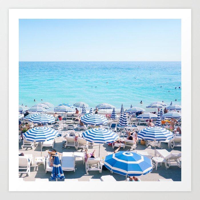 Umbrellas On The French Riviera Nice Art Print