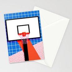 Baller - memphis retro grid neon pattern minimal basketball sports athletic art print Stationery Cards