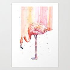 Flamingo Watercolor | Pink Rain Art Print