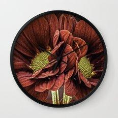 Red Chrysanthemum Duo Wall Clock