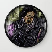 tim burton Wall Clocks featuring Mr. Burton by Carol Wellart