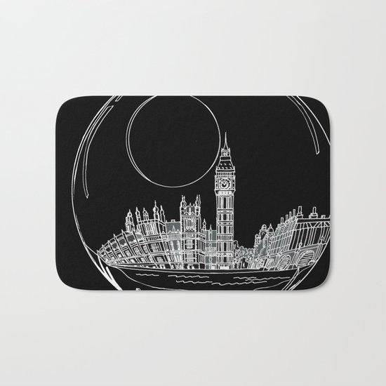 London on black background Bath Mat