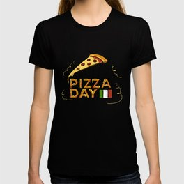 Happy National Pizza Day with Italian Flag T-shirt