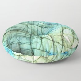 Teal Labradorite Gemstone print Floor Pillow