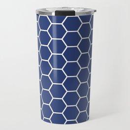 Blue honeycomb geometric pattern Travel Mug