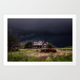 This Old House - Abandoned Home and Cotton Gin in Texas Art Print