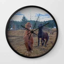 The Challenge - Ranch Horses Fighting Wall Clock