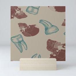 Skull and Teeth Pattern // Anatomy // Human Bones // Red and Blue Punk Rock Pattern Mini Art Print