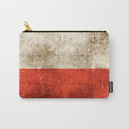 Vintage Aged and Scratched Polish Flag Carry-All Pouch