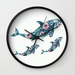 Rose Garden Whales Wall Clock