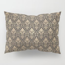 Chic Gold and Black Art Deco Leafy Damask Pillow Sham
