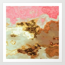 gold pink beige brown grey white abstract marbled painting Art Print