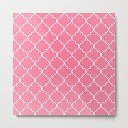 Quatrefoil - Watermelon pink Metal Print