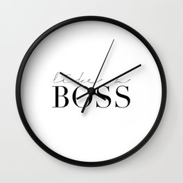 LIKE A BOSS, Office Wall Art,Office Decor,Boss Gift,Funny Home Decor,Home Office Desk,Motivational P Wall Clock