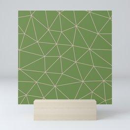 Green Background Triangular Pink Lines Mini Art Print