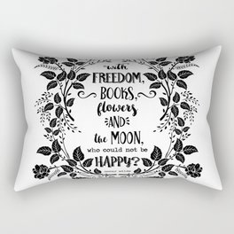 Freedom & Books & Flowers & Moon Rectangular Pillow