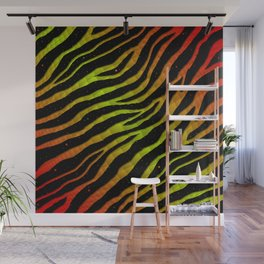 Ripped SpaceTime Stripes - Red/Lime Wall Mural