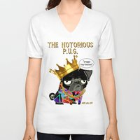 notorious big V-neck T-shirts featuring Notorious PUG by Dark Lord Pug