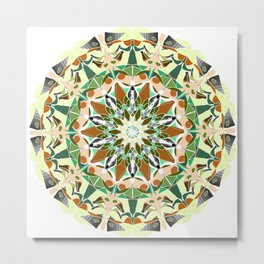 white grey green brown mandala Metal Print