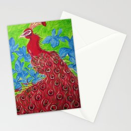 Red Peacock Stationery Cards