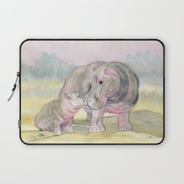 Colorful Mom and Baby Hippo Laptop Sleeve