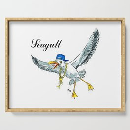 Funny seagull Serving Tray