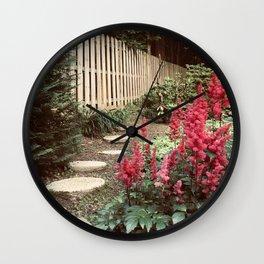 Tall Red Flowers & Path Wall Clock