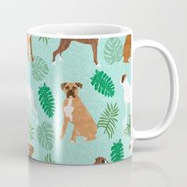 boxer monstera tropical summer dog breed gifts pure breed pets Coffee Mug