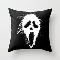 scream Throw Pillows featuring Scream by DanielBergerDesign