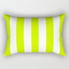 Fluorescent yellow - solid color - white vertical lines pattern Rectangular Pillow