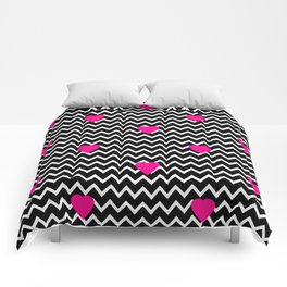 Black Chevron with Hot Pink Hearts Comforters