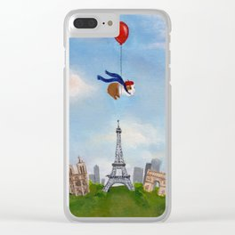 Guinea Pig With Balloon Over Paris, France Clear iPhone Case