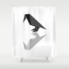 """Collection """"Origami"""" impression """"Raven Paper"""" Shower Curtain"""