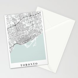 Toronto Canada Blue Water Street Map Stationery Cards