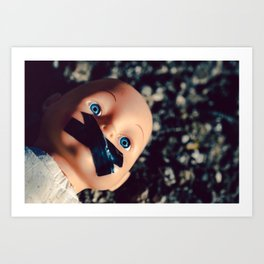 weird, creepy doll with taped mouth Art Print