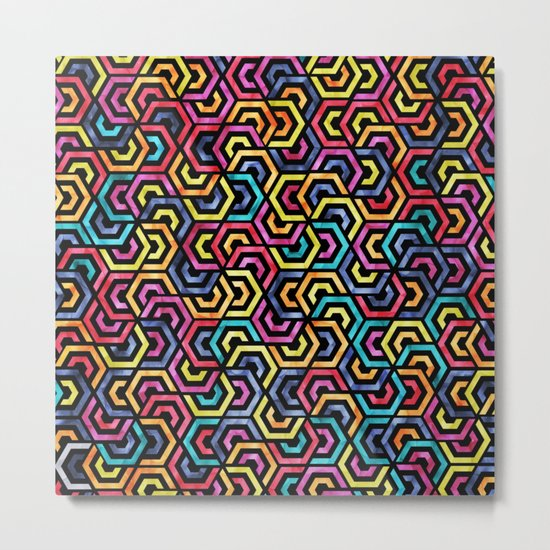 Seamless Colorful Geometric Pattern XXIV Metal Print