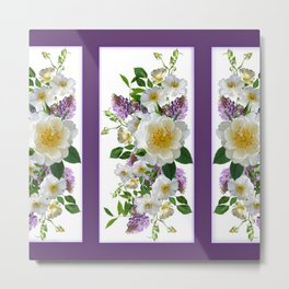 Wild Roses and Lilacs Metal Print