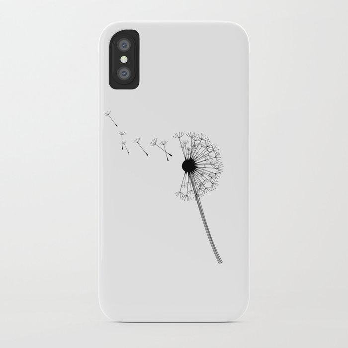 Dandelion Black and White iPhone Case
