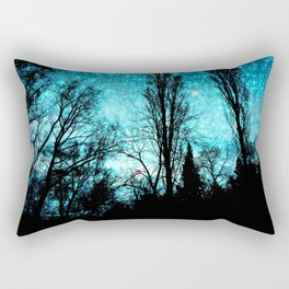 black trees turquoise teal space Rectangular Pillow