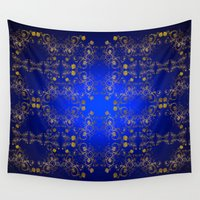 floral pattern Wall Tapestries featuring Floral Pattern by Looly Elzayat