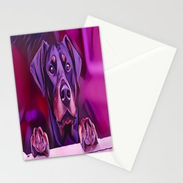 Doberman Looking Out The Window Stationery Cards