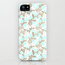 Modern faux gold teal white hand painted floral iPhone Case
