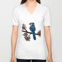 jay fleck V-neck T-shirts featuring Blue Jay by Syella