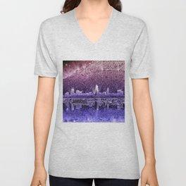 cleveland city skyline Unisex V-Neck