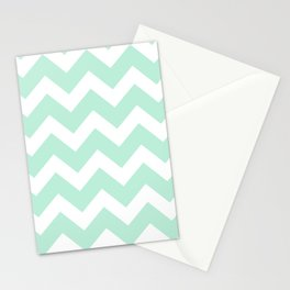 Chevron Mint Green & White Stationery Cards