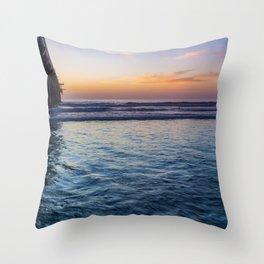 Northside Sunset at Scripps Pier Throw Pillow