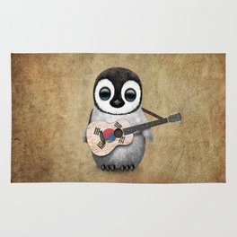 Baby Penguin Playing South Korean Flag Guitar Rug